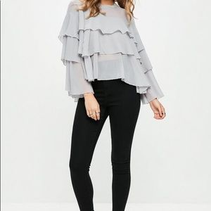 MISSGUIDED || Gray Ruffled Tiered Blouse